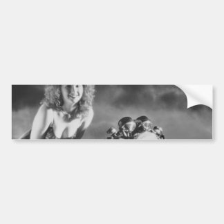 Motorcycle Pinup Girl Bumper Sticker