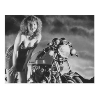 Motorcycle Pinup Girl Post Cards
