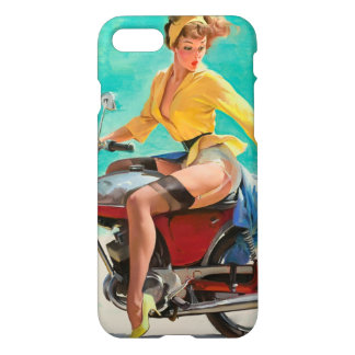 Motorcycle Pinup Girl - Retro Pinup Art iPhone 7 Case