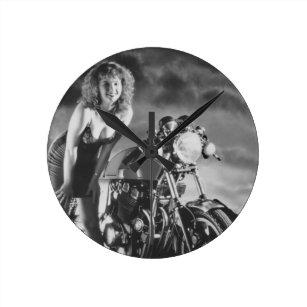 Motorcycle Pinup Wall Clocks   Zazzle com au
