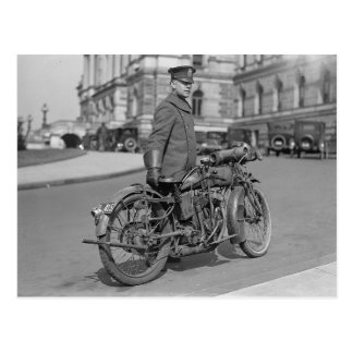 Motorcycle Police Officer, 1922 Postcard