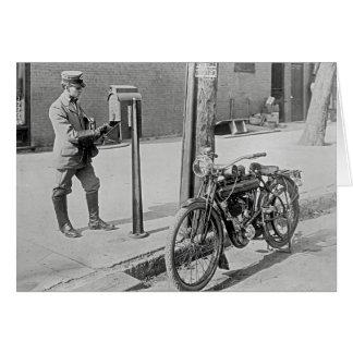 Motorcycle Postman, 1909 Greeting Card