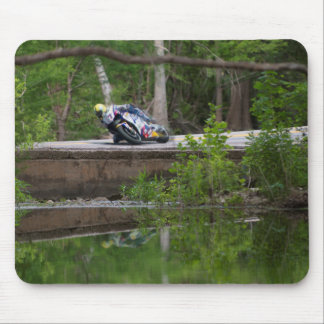 Motorcycle Racer on Old Creek Bridge Mouse Pads