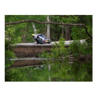Motorcycle Racer on Old Creek Bridge Postcards