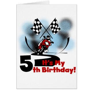 Motorcycle Racing 5th Birthday Greeting Card