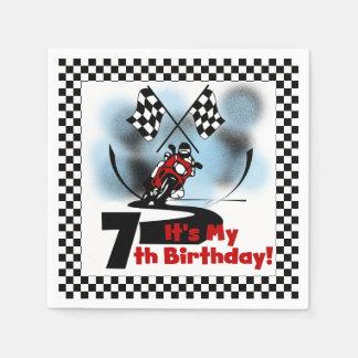 Motorcycle Racing 7th Birthday Paper Napkins