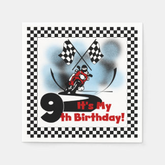 Motorcycle Racing 9th Birthday Paper Napkins