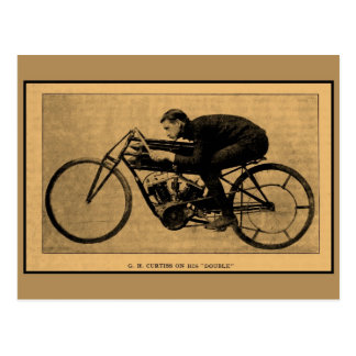 Motorcycle racing history GH Curtiss on his Double Postcard