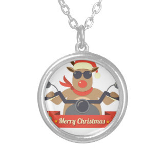 motorcycle  reindeer silver plated necklace