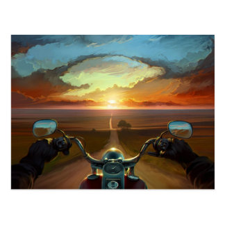 Motorcycle Ride into the Sunset Postcard