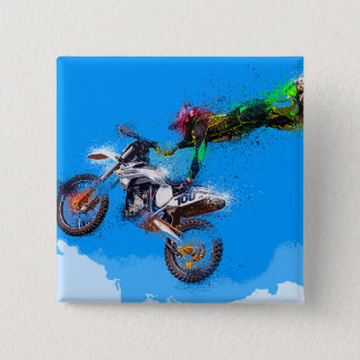 Motorcycle rider motocross jump 15 cm square badge