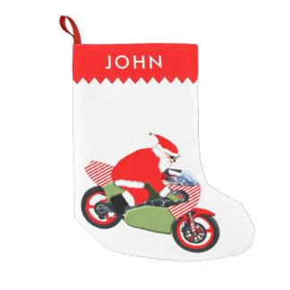 motorcycle riding Santa Small Christmas Stocking