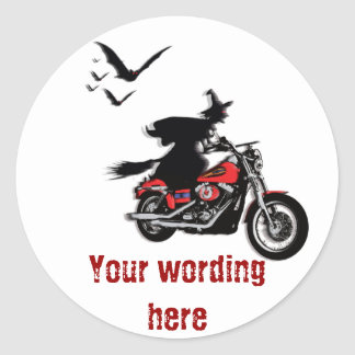 Motorcycle riding witch stickers - customize