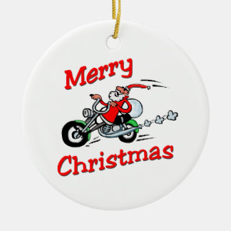 Motorcycle Santa Ceramic Ornament