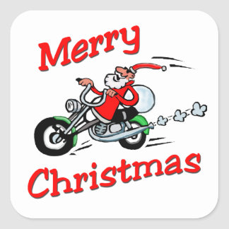 Motorcycle Santa Square Sticker