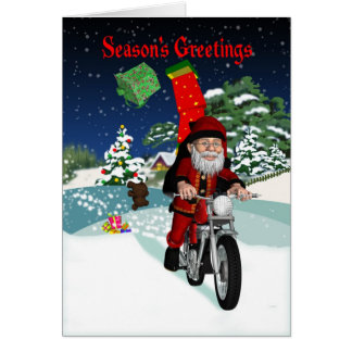 Motorcycle Santa With Flying Gifts & Winter Scene Card