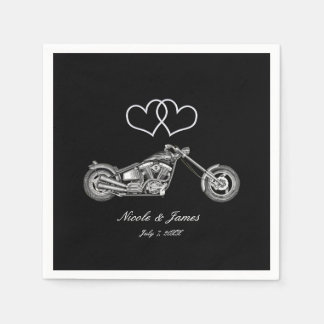 Motorcycle & Silver Hearts Biker Wedding Disposable Serviette