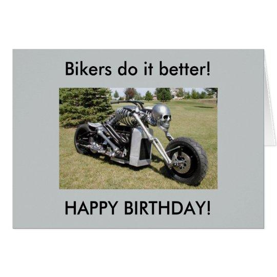 Motorcycle skeleton birthday card