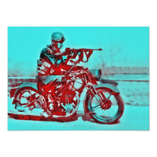 Motorcycle Soldier WWII 14 Cm X 19 Cm Invitation Card