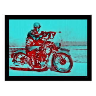 Motorcycle Soldier WWII Postcard