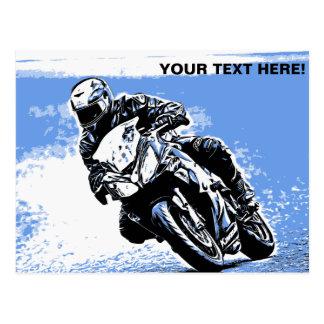 Motorcycle Speed in Blue Postcard