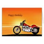 Motorcycle sunset birthday card
