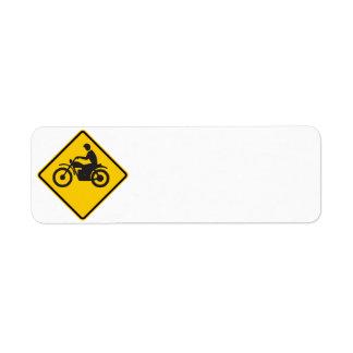 Motorcycle Traffic Highway Sign Return Address Label