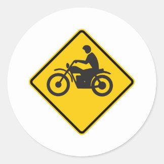 Motorcycle Traffic Highway Sign Round Sticker
