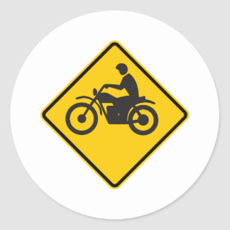 Motorcycle Traffic Highway Sign Round Stickers