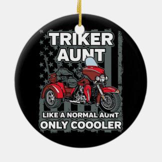 Motorcycle Triker Aunt Ceramic Ornament