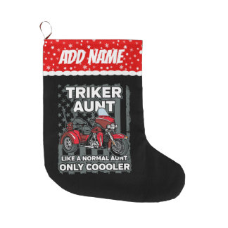 Motorcycle Triker Aunt Large Christmas Stocking