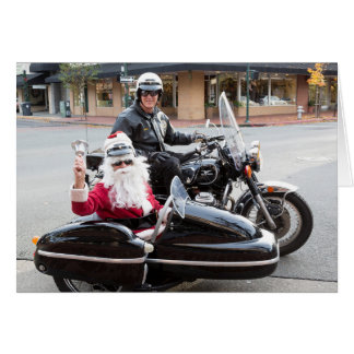 Motorcycle with Santa Claus in sidecar Card