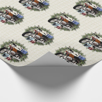 Motorcycle Wreath Christmas Wrapping Paper