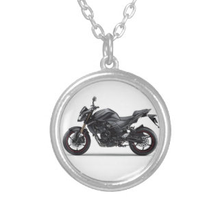 motorcycles kawasaki z750 silver plated necklace