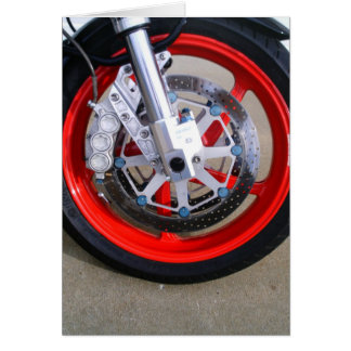 Motorcycles Motorcycle Wheel Red Rims Photo Card