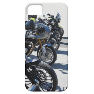 Motorcycles parked in row on asphalt barely there iPhone 5 case