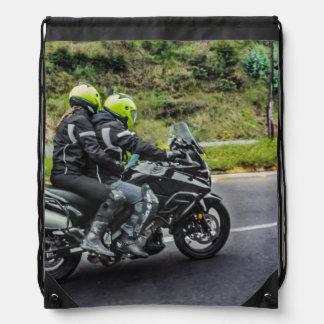 Motorcycles Riders at Avenue Drawstring Bag