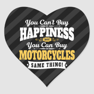 Motorcyclist Cant Buy Happiness Can Buy Motorcycle Heart Sticker