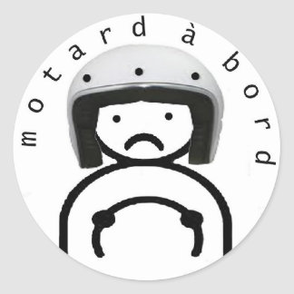 MOTORCYCLIST on BOARD Classic Round Sticker