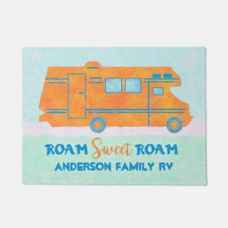 Motorhome Orange RV Summer Camper | Family Name Doormat