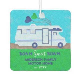 Motorhome RV Camper Travel   Add Family Name V2 Car Air Freshener