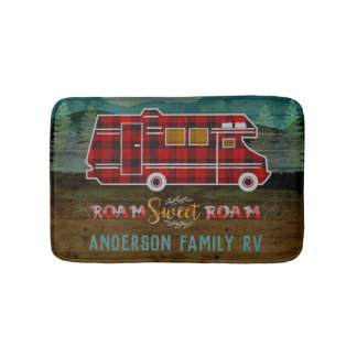 Motorhome RV Camper Travel Van Rustic Personalized Bath Mat