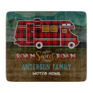 Motorhome RV Camper Travel Van Rustic Personalized Cutting Board