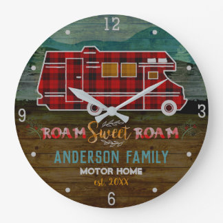 Motorhome RV Camper Travel Van Rustic Personalized Large Clock