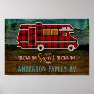 Motorhome RV Camper Travel Van Rustic Personalized Poster