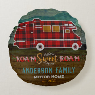 Motorhome RV Camper Travel Van Rustic Personalized Round Cushion