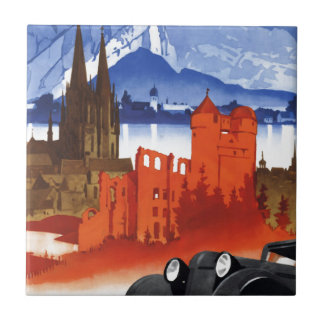 Motoring in Germany Car Vintage Travel Ceramic Tile