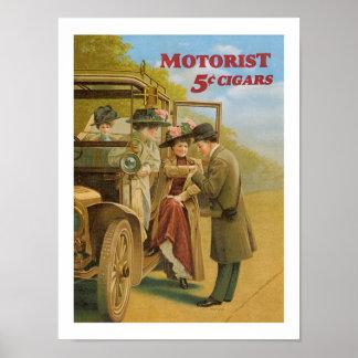 Motorist Cigars Automobile Ad Vintage Art Poster