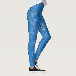 Mottled Blue Stone Texture Leggings