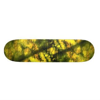 Mottled greenish yellow skate board